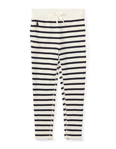Ralph Lauren Childrenswear Striped French Terry Leggings-BEIGE-6X