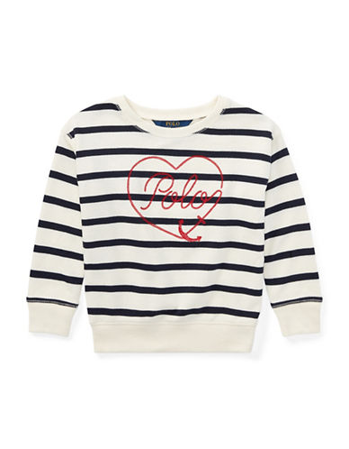 Ralph Lauren Childrenswear Striped Terry Sweatshirt-BEIGE-6X