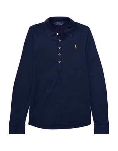 Ralph Lauren Childrenswear Jersey Long-Sleeve Popover-BLUE-Small
