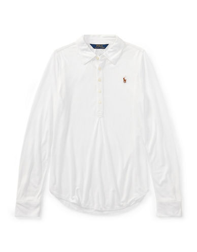 Ralph Lauren Childrenswear Jersey Long-Sleeve Popover-WHITE-Small