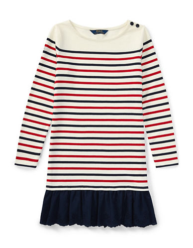 Ralph Lauren Childrenswear Striped Drop-Waist Cotton Dress-BLUE-Small