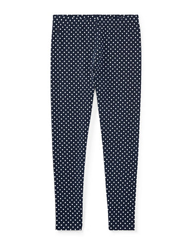 Ralph Lauren Childrenswear Polka-Dot Jersey Leggings-BLUE-Small