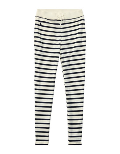 Ralph Lauren Childrenswear Striped French Terry Leggings-BEIGE-Large