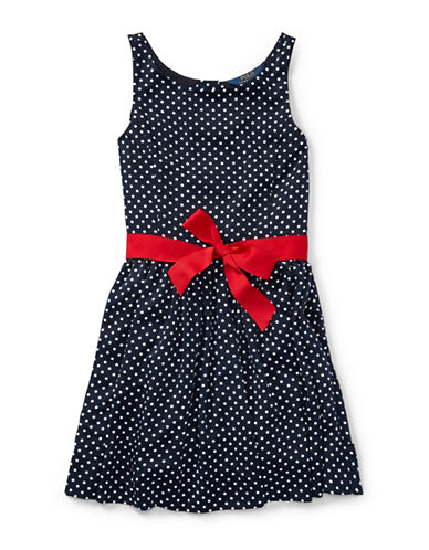Ralph Lauren Childrenswear Dot-Print Fit-and-Flare Dress-BLACK-12