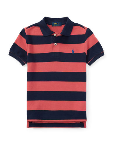 Ralph Lauren Childrenswear Striped Cotton Polo-RED-4T