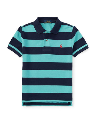 Ralph Lauren Childrenswear Striped Cotton Polo-GREEN-3T