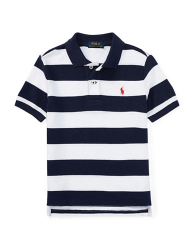 Ralph Lauren Childrenswear Striped Cotton Polo-BLUE-3T