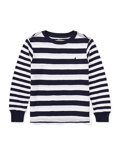 Ralph Lauren Childrenswear Stripe Crew Neck Cotton Tee-WHITE-3T