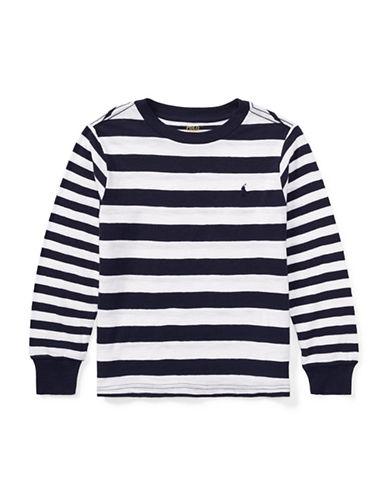Ralph Lauren Childrenswear Stripe Crew Neck Cotton Tee-WHITE-2T
