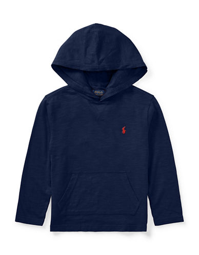 Ralph Lauren Childrenswear Hooded Cotton Tee-BLUE-2T