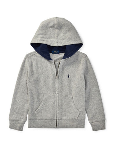 Ralph Lauren Childrenswear Waffle-Knit Cotton Hoodie-GREY-4T