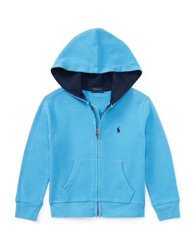 Ralph Lauren Childrenswear Waffle-Knit Cotton Hoodie-BLUE-4T