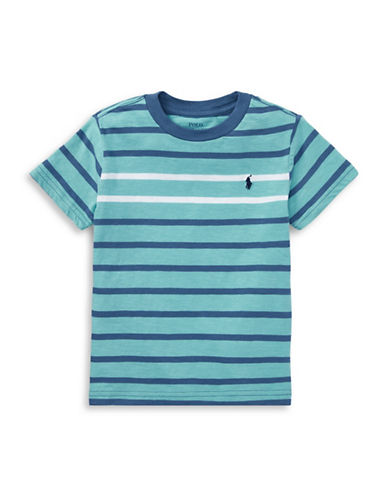 Ralph Lauren Childrenswear Striped Cotton Jersey Tee-GREEN-4T