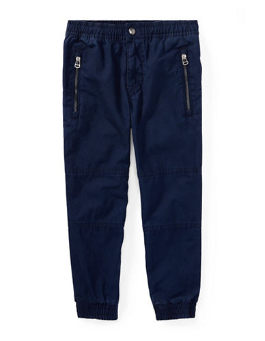 Ralph Lauren Childrenswear Elasticized Cotton Joggers-BLUE-3T