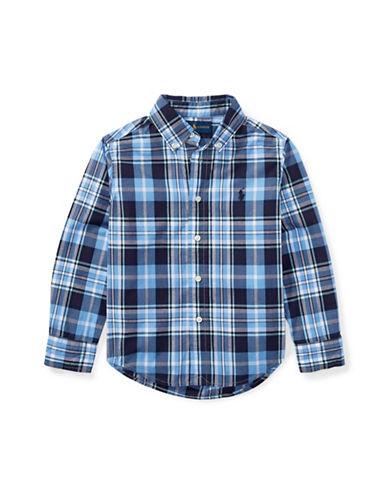 Ralph Lauren Childrenswear Plaid Poplin Cotton Sport Shirt-BLUE-3T