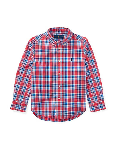 Ralph Lauren Childrenswear Plaid Poplin Cotton Sport Shirt-RED-3T
