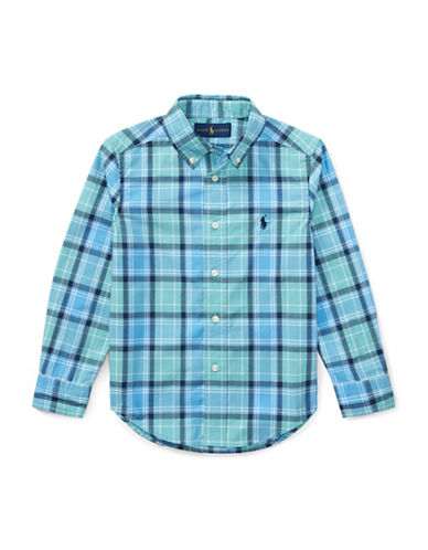 Ralph Lauren Childrenswear Plaid Poplin Cotton Sport Shirt-GREEN-4T