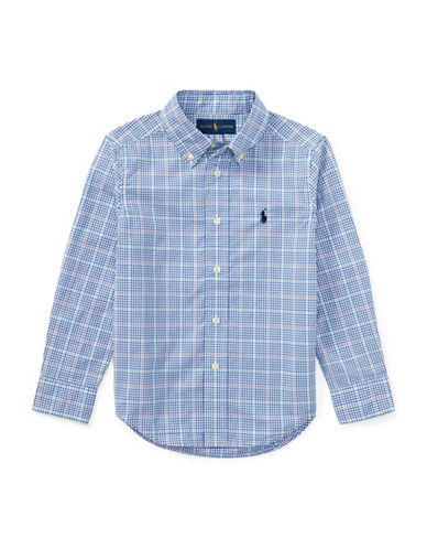 Ralph Lauren Childrenswear Plaid Poplin Cotton Sport Shirt-BLUE-4T