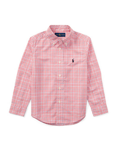 Ralph Lauren Childrenswear Plaid Poplin Cotton Sport Shirt-RED-2T