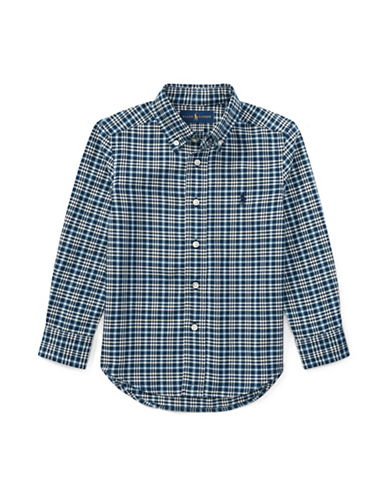 Ralph Lauren Childrenswear Plaid Cotton Oxford  Sport Shirt-BLUE-3T