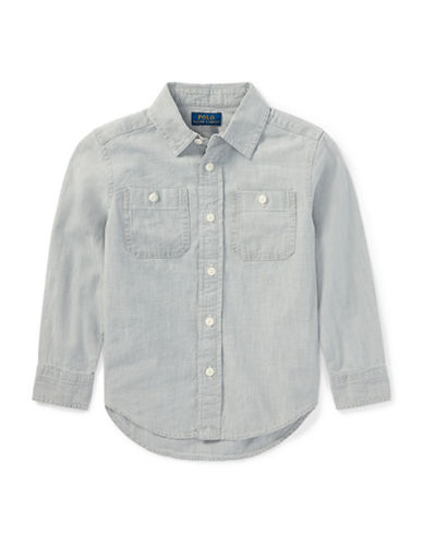 Ralph Lauren Childrenswear Chambray Cotton Sport Shirt-GREY-4T
