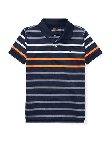 Ralph Lauren Childrenswear Stripe Performance Stretch Polo-NAVY-2T