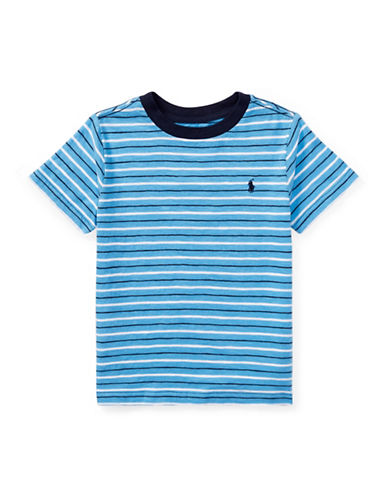 Ralph Lauren Childrenswear Striped Cotton Jersey T-Shirt-BLUE-2T
