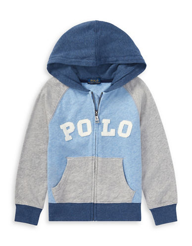 Ralph Lauren Childrenswear Colourblock Cotton Zip-Up Hoodie-GREY-6