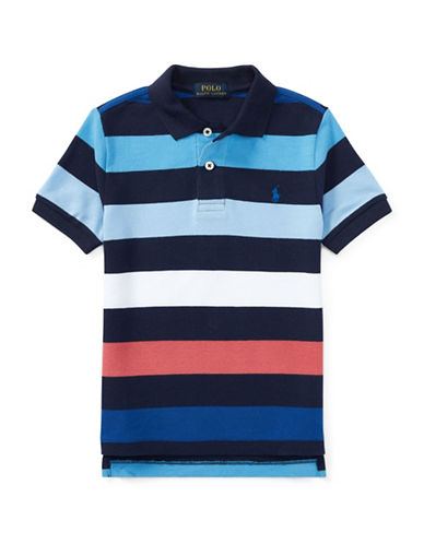 Ralph Lauren Childrenswear Stripe Cotton Polo Shirt-BLUE-6