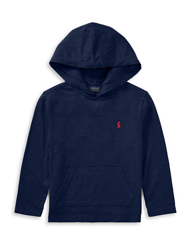 Ralph Lauren Childrenswear Jersey Cotton Hooded T-Shirt-BLUE-5