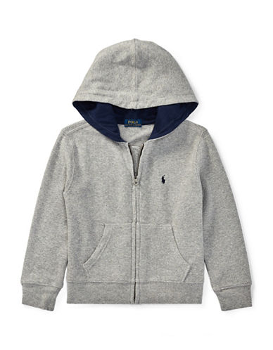 Ralph Lauren Childrenswear Full-Zip Cotton Hoodie-GREY-6