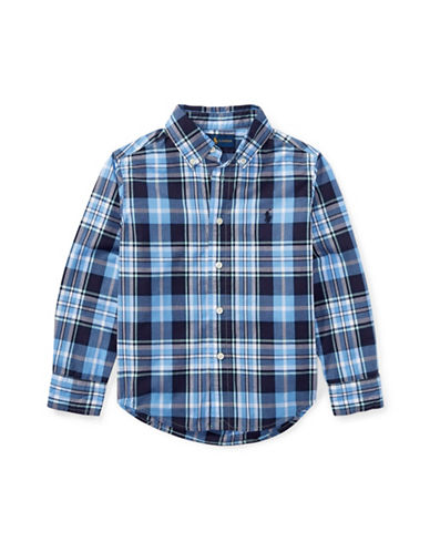 Ralph Lauren Childrenswear Plaid Cotton Poplin Shirt-BLUE-7