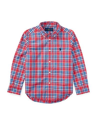 Ralph Lauren Childrenswear Plaid Cotton Poplin Shirt-RED-5