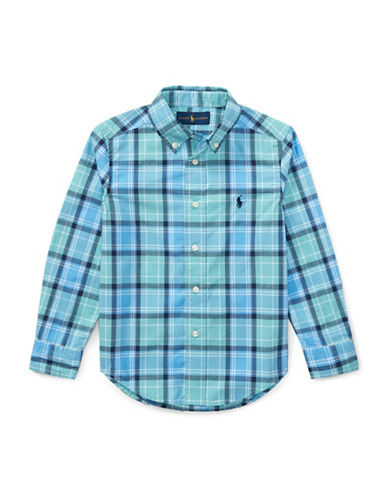 Ralph Lauren Childrenswear Plaid Cotton Poplin Shirt-GREEN-5