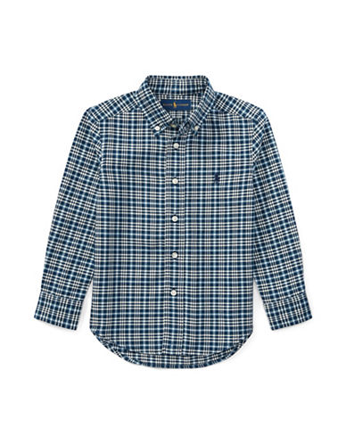 Ralph Lauren Childrenswear Plaid Cotton Collared Shirt-BLUE-5