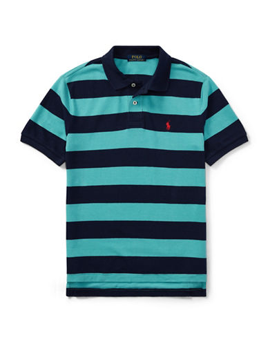 Ralph Lauren Childrenswear Rugby Stripe Cotton Polo Shirt-RED-10-12