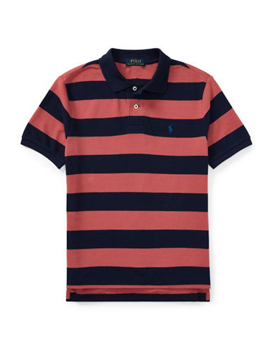 Ralph Lauren Childrenswear Rugby Stripe Cotton Polo Shirt-GREEN-12-14