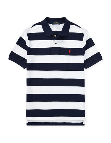 Ralph Lauren Childrenswear Rugby Stripe Cotton Polo Shirt-BLUE-10-12