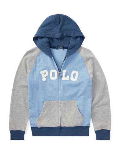 Ralph Lauren Childrenswear Cotton Spa Terry Hoodie-GREY-10-12