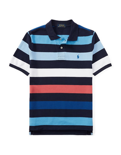 Ralph Lauren Childrenswear Stripe Cotton Polo Shirt-BLUE-16-18
