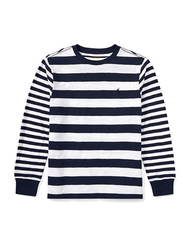 Ralph Lauren Childrenswear Stripe Cotton Jersey Long Sleeve T-Shirt-WHITE-16-18
