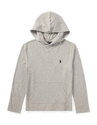 Ralph Lauren Childrenswear Hooded Cotton Long Sleeve T-Shirt-GREY-16-18
