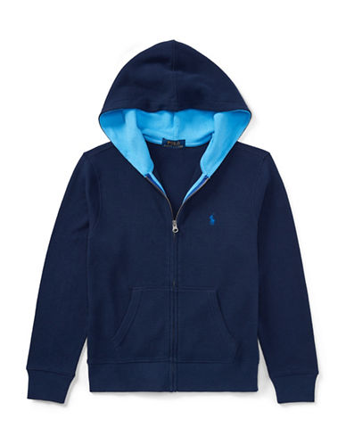 Ralph Lauren Childrenswear Full-Zip Cotton Hoodie-BLUE-10-12