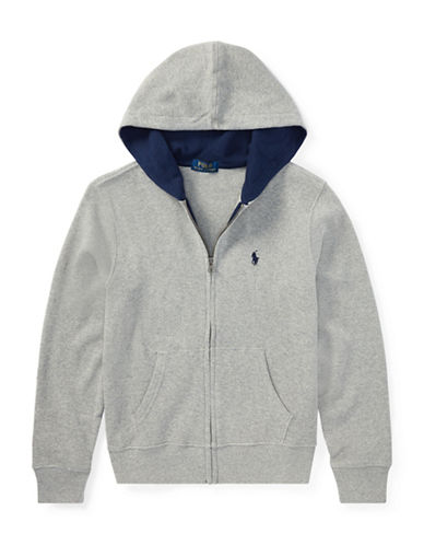 Ralph Lauren Childrenswear Full-Zip Cotton Hoodie-GREY-16-18