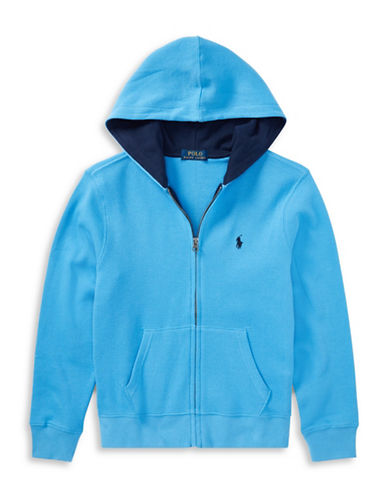 Ralph Lauren Childrenswear Full-Zip Cotton Hoodie-BLUE-16-18