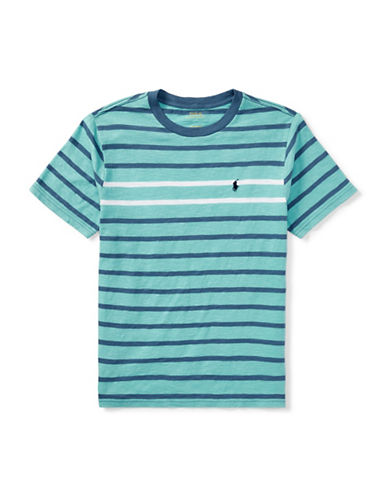 Ralph Lauren Childrenswear Jersey Cotton Striped T-Shirt-GREEN-12-14