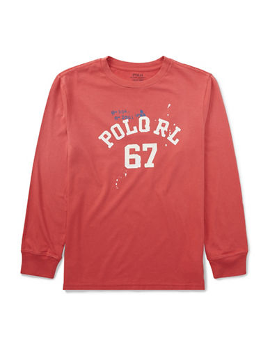 Ralph Lauren Childrenswear Vintage Graphic Long Sleeve T-Shirt-RED-12-14