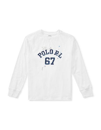 Ralph Lauren Childrenswear Vintage Graphic Long Sleeve T-Shirt-WHITE-12-14