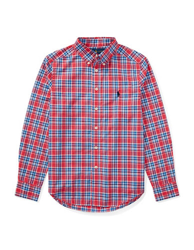 Ralph Lauren Childrenswear Plaid Cotton Poplin Shirt-RED-12-14