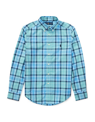 Ralph Lauren Childrenswear Plaid Cotton Poplin Shirt-GREEN-12-14